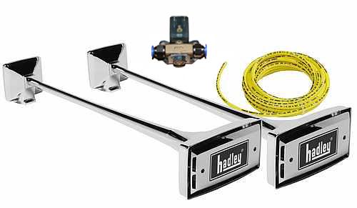 H00982EN24 Zestaw sygnałów pneumatycznych HADLEY chromowane prostokątne 2 x 74 cm z zestawem montażowym i elektrozaworem (HA) - zdjęcie 1