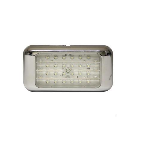 13ew024122 Oświetlenie Wnętrza Led 12v 24v Prostokątne Chromowane Zintegrowany Włącznik