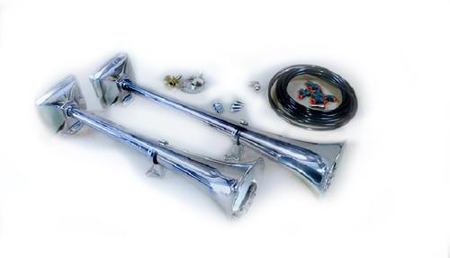 Zestaw sygnałów pneumatycznych HADLEY z zestawem montażowym i zaworem na sznurek (chromowane, okrągłe, 56 i 48 cm), nr kat. H00859ENA - zdjęcie 1