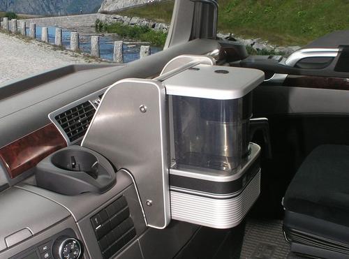 2650MA18U12 Półka na ekspres do kawy MAN TGX czarna ze srebrnymi brzegami - zdjęcie 1